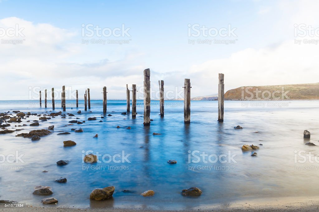 Old Jetty Ruins at Myponga Beach, South Australia stock photo