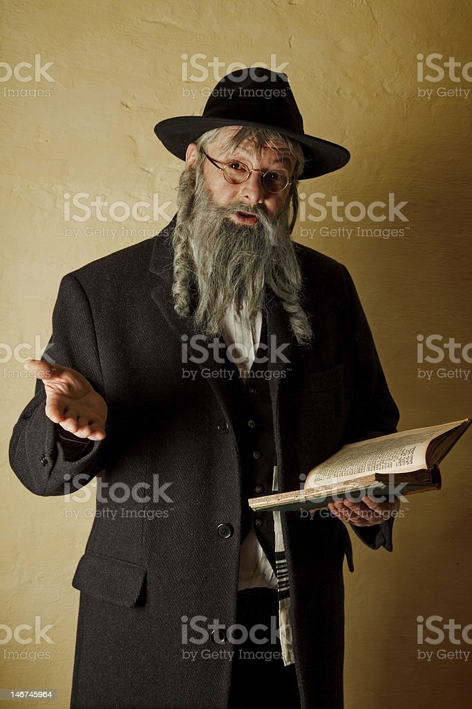 Old jew with book stock photo