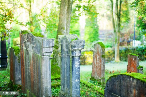 Old jewish cemetery in woods. Cemetery is seated in southern outskirts of Essen Kettwig in Ruhrgebiet.