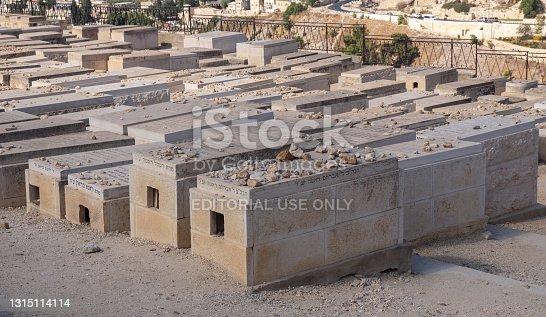 Jerusalem, Israel - 10 September, 2018: Old jewish graves on the mount of olives in Jerusalem. High quality photo