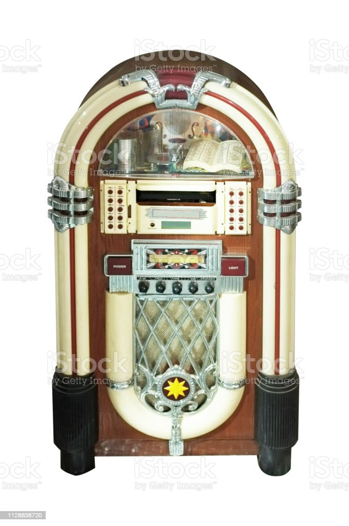 Old Jukebox Music Player Isolated On White Background Stock Photo