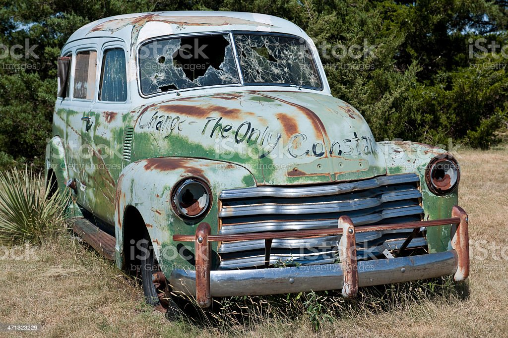 Old Junk Car With Graffiti And Bullet Holes Stock Photo & More ...