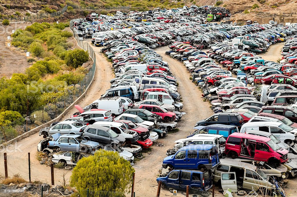 Old Junk Cars On Junkyard stock photo