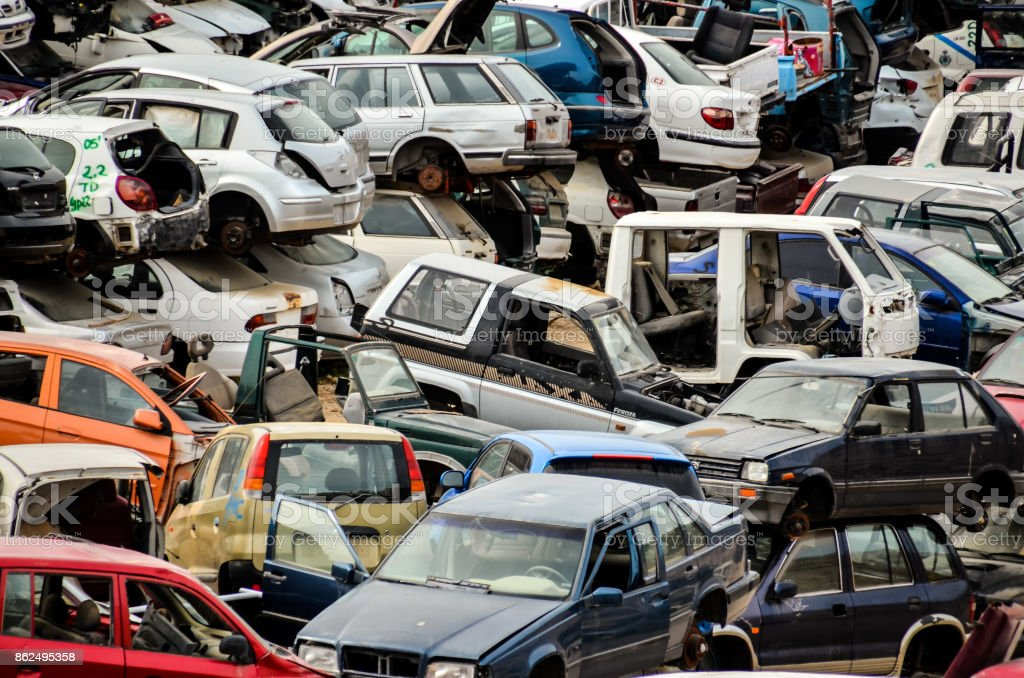 Old Junk Cars On Junkyard Stock Photo & More Pictures of Abandoned ...