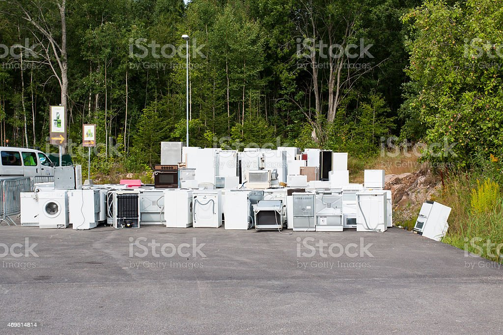 Old junk fridges stock photo