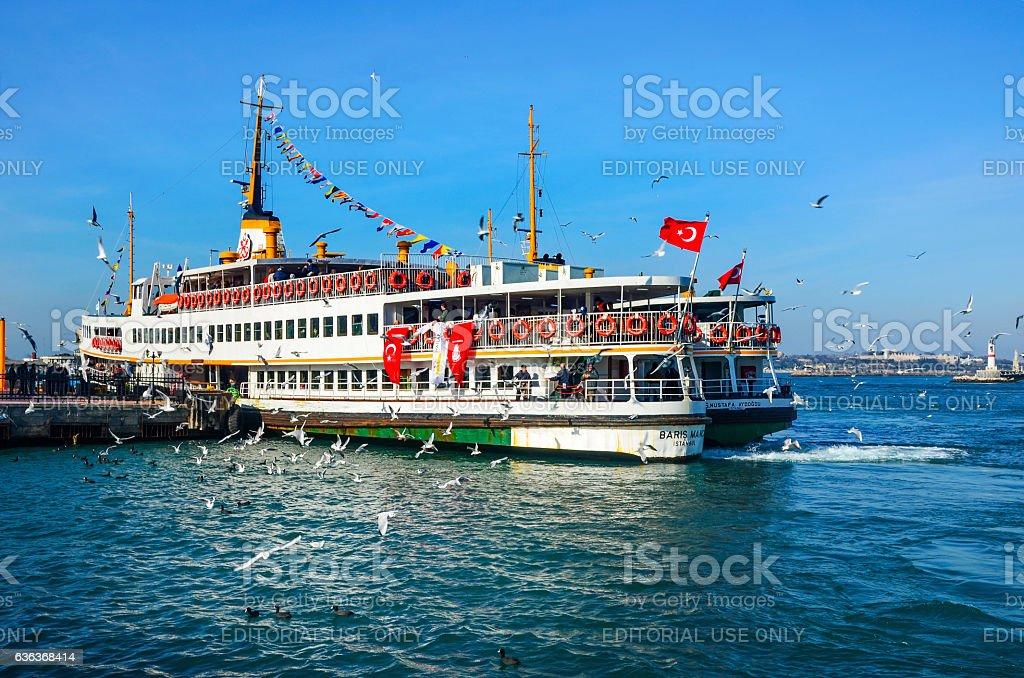 Old Kadıkoy Ferry Pier and Istanbul Ferry stock photo