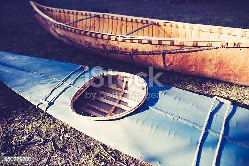 old kayak and canoe