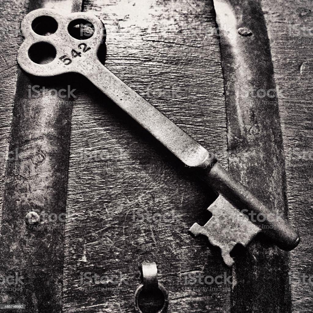 old key black and white stock photo