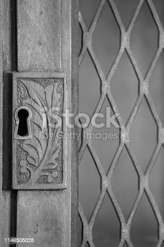 An Old Key hole in a vintage door