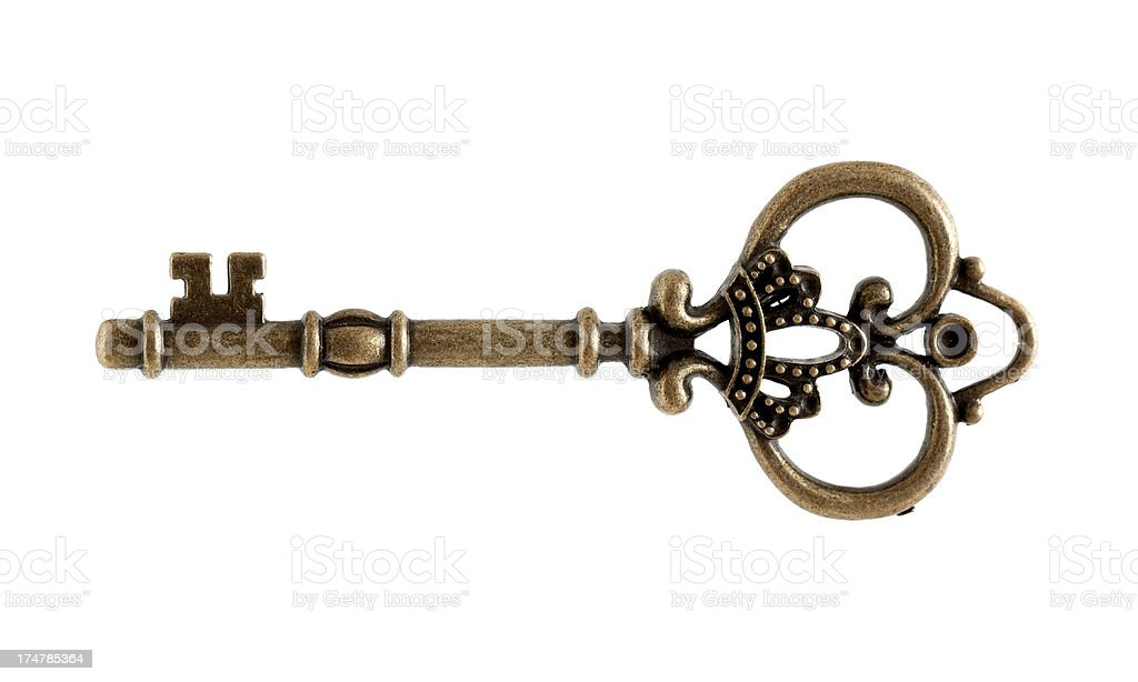 Old Key (clipping path) isolated on white background stock photo