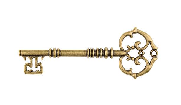 old key isolado no branco plano. sem sombra - chave - fotografias e filmes do acervo