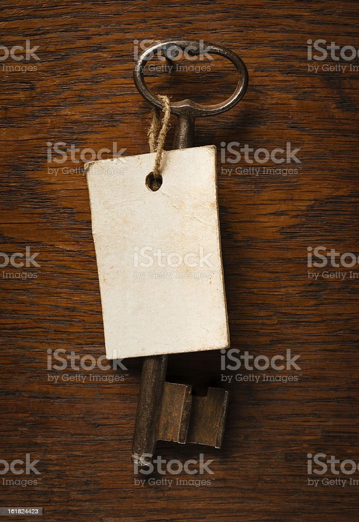 Old Key With Label royalty-free stock photo