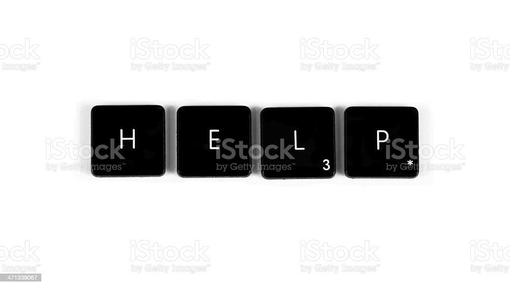 Old keyboard keys spelling HELP royalty-free stock photo