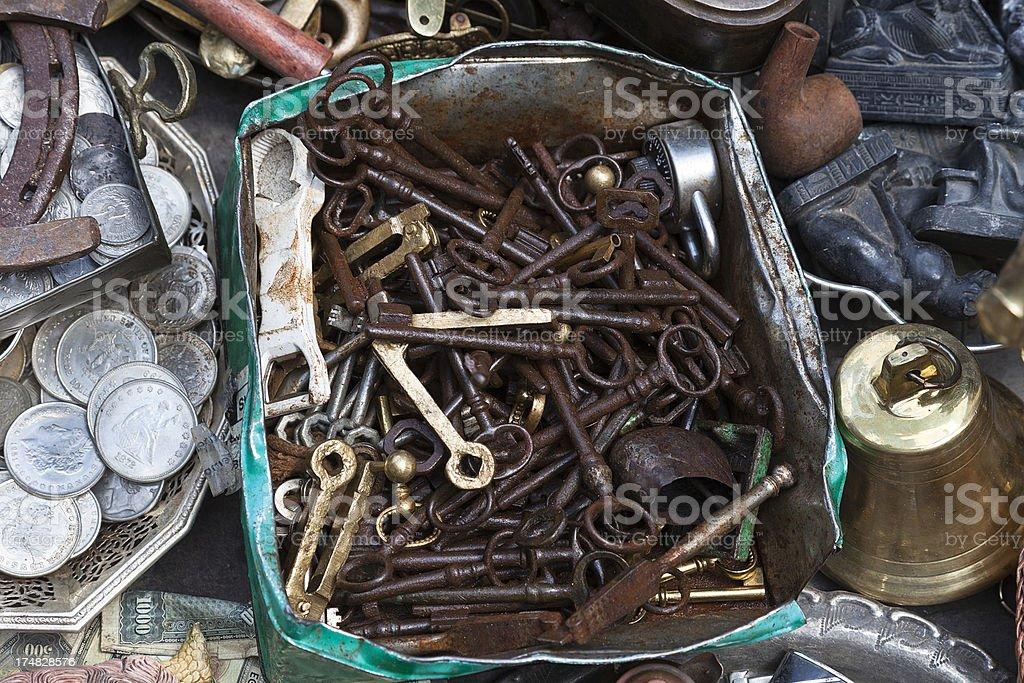 Old keys in a street market royalty-free stock photo