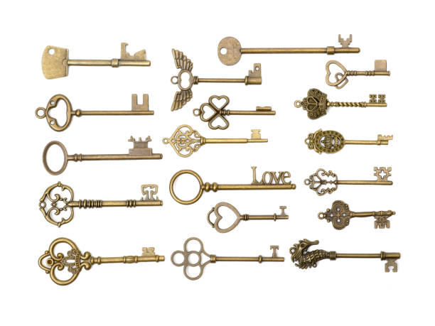old keys (clipping path all) isolated on white background - key stock pictures, royalty-free photos & images