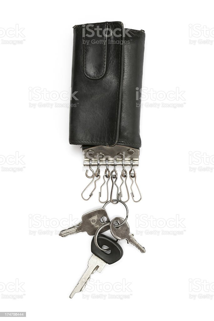 Old Keys on a Leather Wallet royalty-free stock photo
