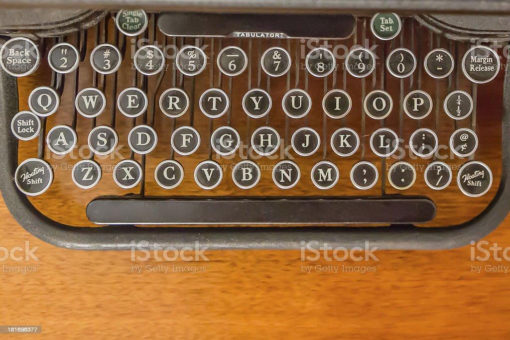 Old keys on antique typewriter royalty-free stock photo