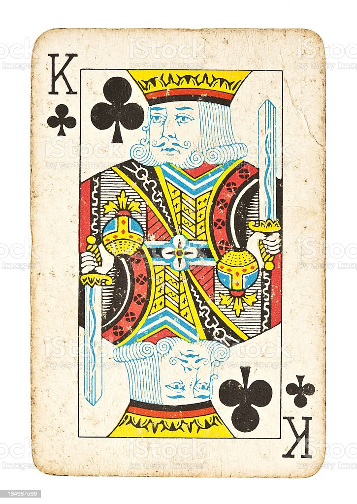 Old King of Clubs Isolated on White royalty-free stock photo