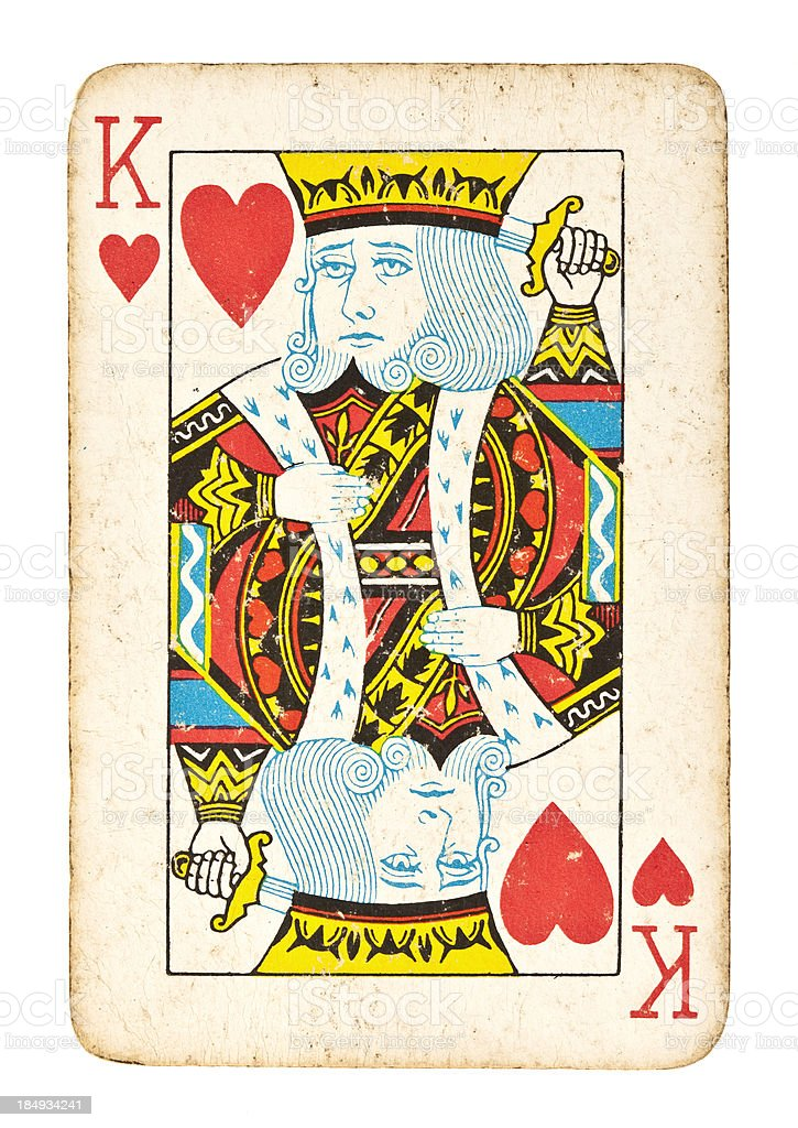 Old King of Hearts Isolated on White stock photo