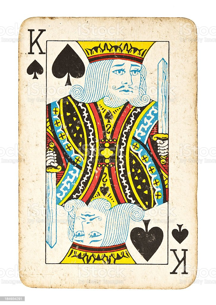 Old King of Spades Isolated on White stock photo