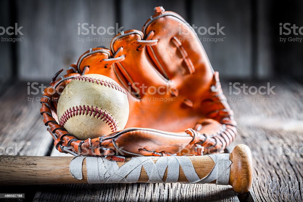 Old Kit to play baseball stock photo