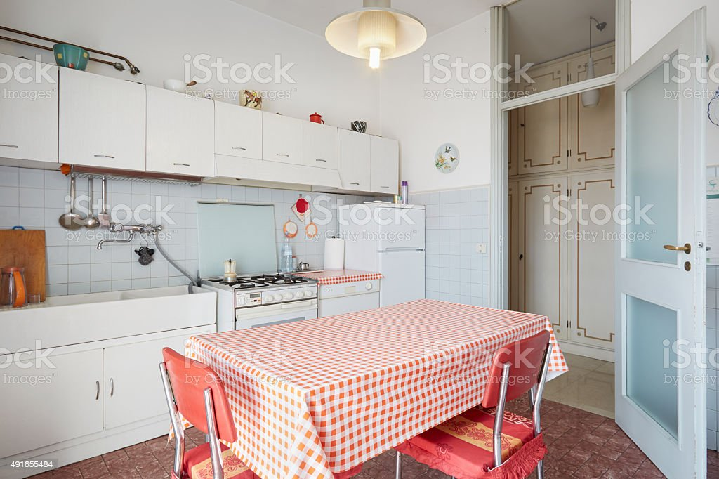 Old kitchen in normal house stock photo