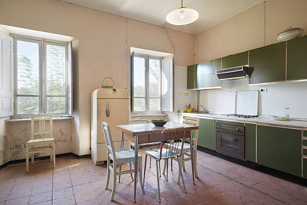 Old kitchen Old kitchen in country house in a sunny day ugliness stock pictures, royalty-free photos & images