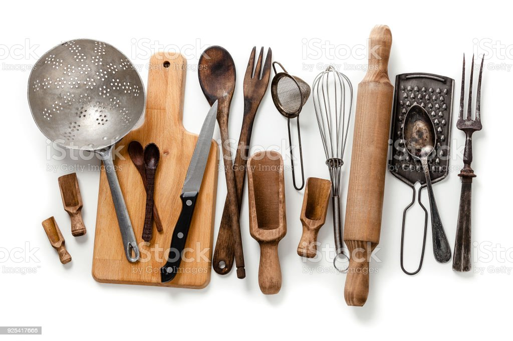 Old Kitchen Utensils Frameisolated On White Background Royalty Free Stock  Photo