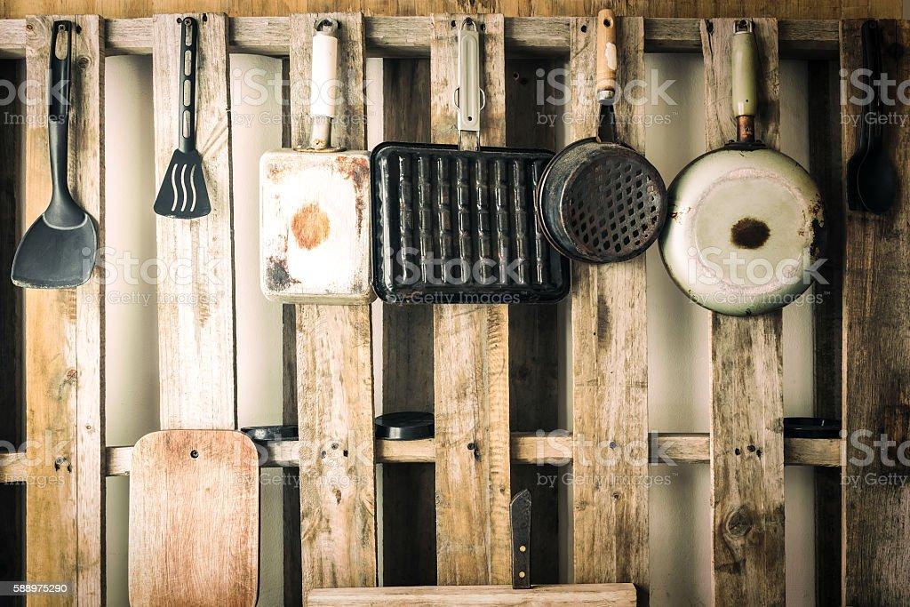 Old kitchen utensils of various kinds. Vintage color filtered. stock photo
