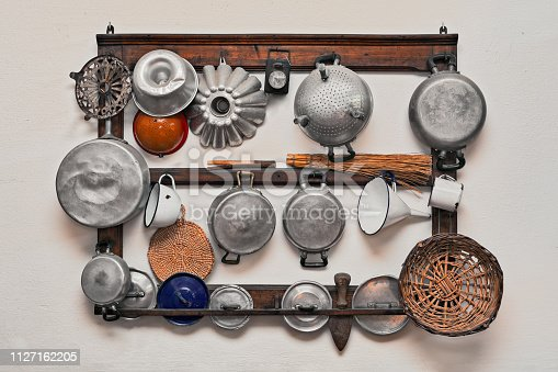 set of ancient kitchen utensils - retro equipment of grandmother - pans and kitchenware of the old days