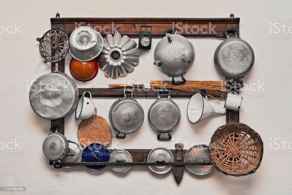 old kitchen utensils stock photo