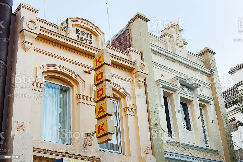 Old Kodak sign on building stock photo