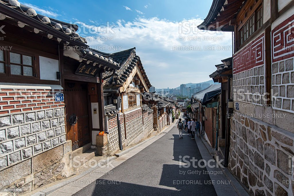 Old Korean Architecture At Bukchon Hanok Village In Seoul Royalty Free Stock Photo