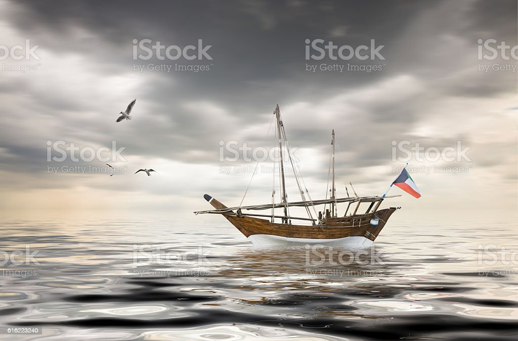old kuwaiti fishing stock photo