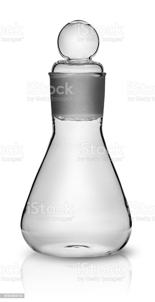 Old laboratory flask with ground glass stopper stock photo