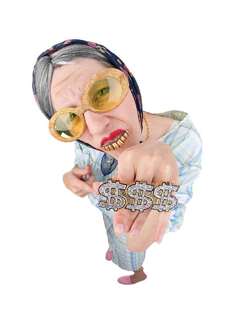 Old Lady Bling A fisheye image of an old woman wearing bling bling. gold teeth bling stock pictures, royalty-free photos & images
