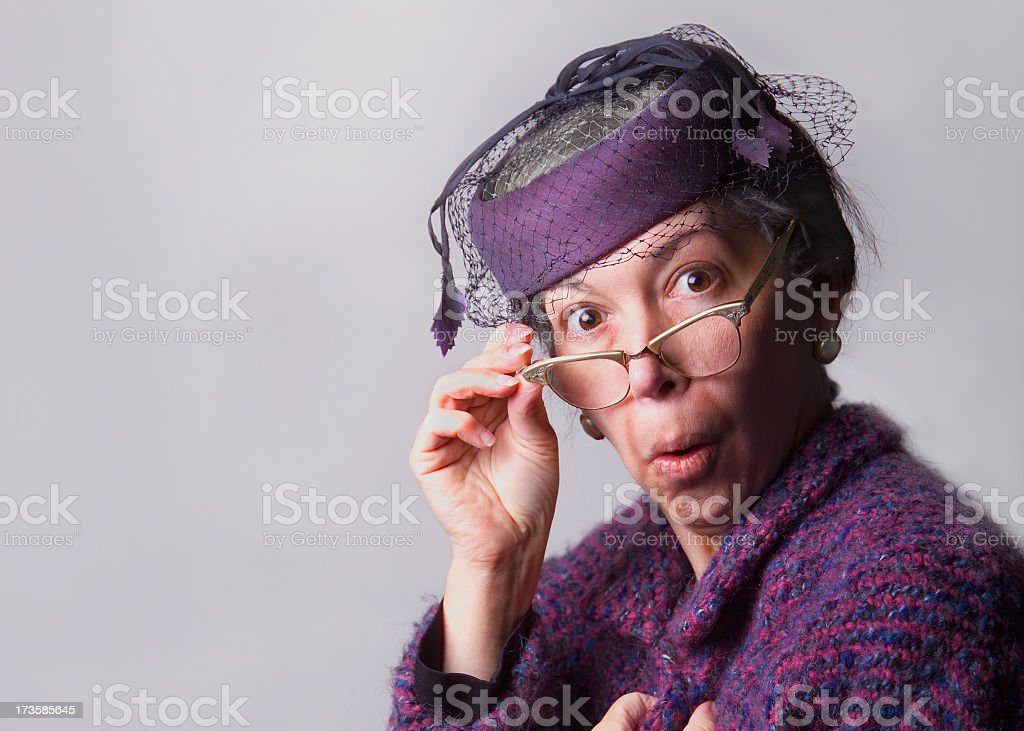 Old Lady in shock stock photo