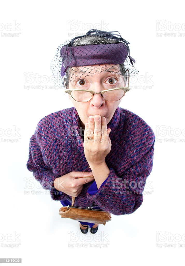 Old lady in shock royalty-free stock photo