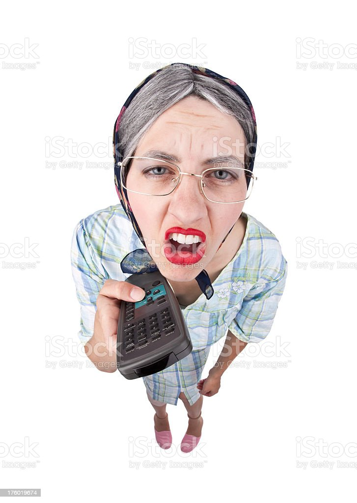 Old Lady With Remote Control royalty-free stock photo