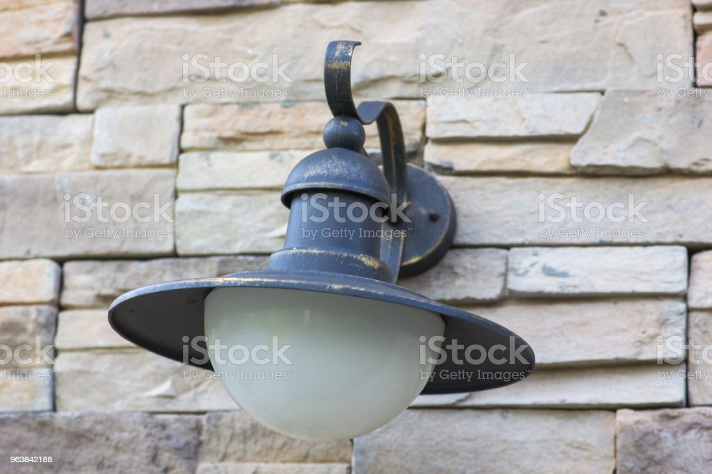 Old lamp on a brick wall, close-up - Royalty-free Architecture Stock Photo