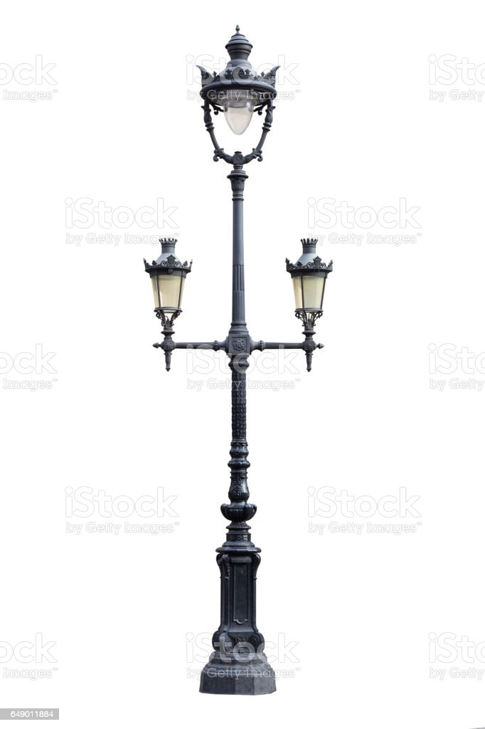 Old lamp post isolated on white stock photo