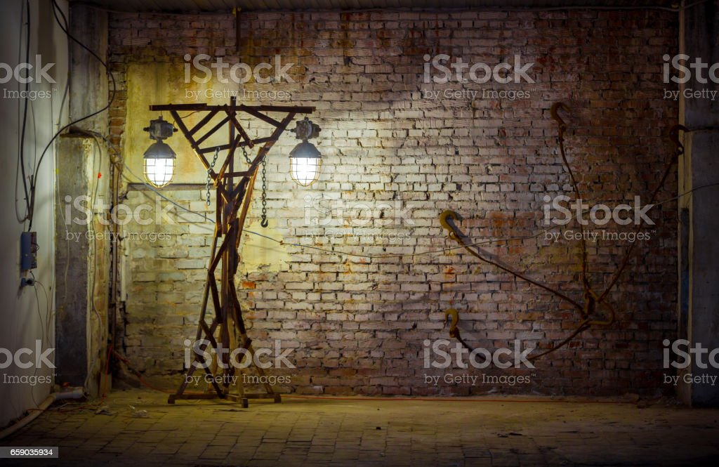 Old Lamppost On Brick Wall Background royalty-free stock photo