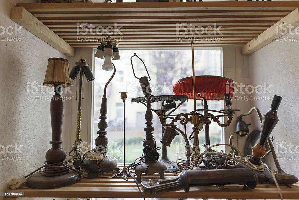 Old Lamps in Antique Shop royalty-free stock photo