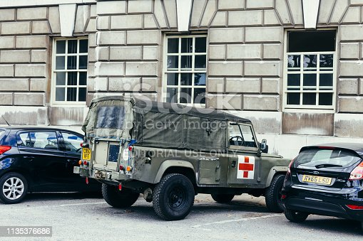 London, UK - July 23, 2018: old Land Rover parked in a London street. The Lightweight 1/2 ton was a British military vehicle supplied by Land Rover