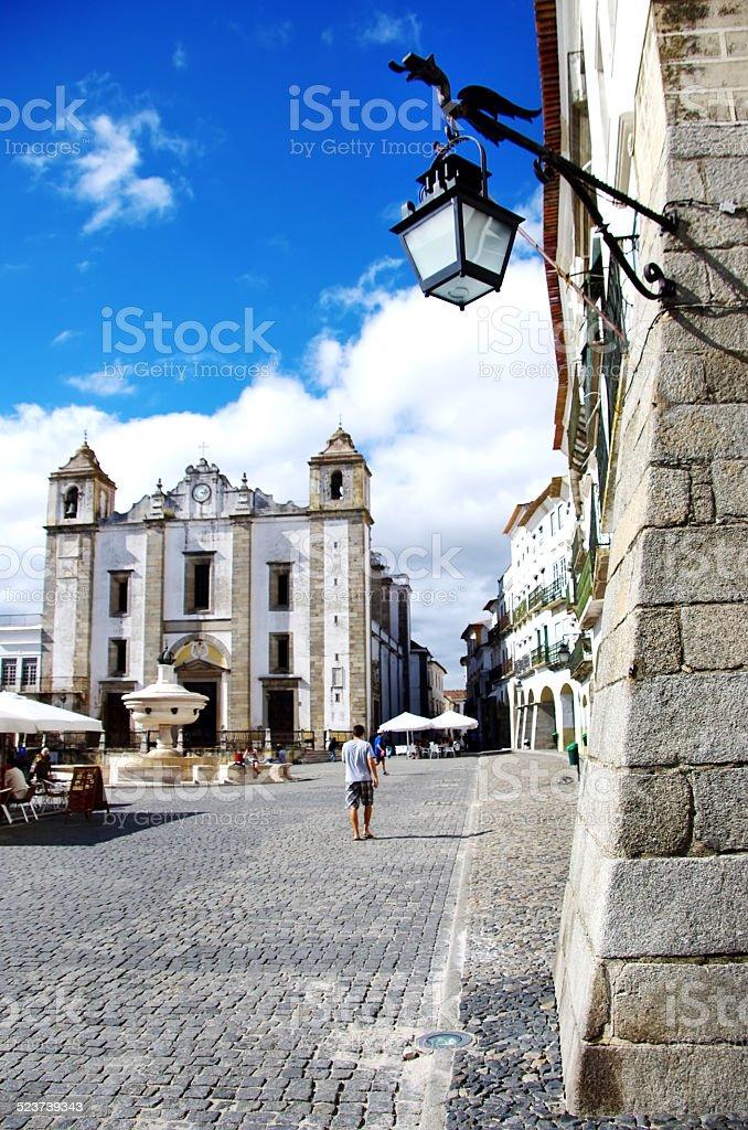 Old lantern, Do Giraldo square, Portugal stock photo