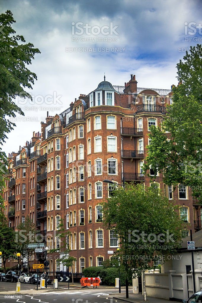 Old Large Apartment Red Brick Houses In Kensington Olympia London Royalty Free Stock Photo