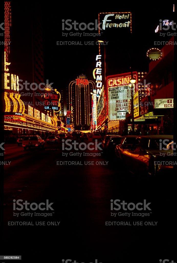 Old Las Vegas at night, 1977 stock photo