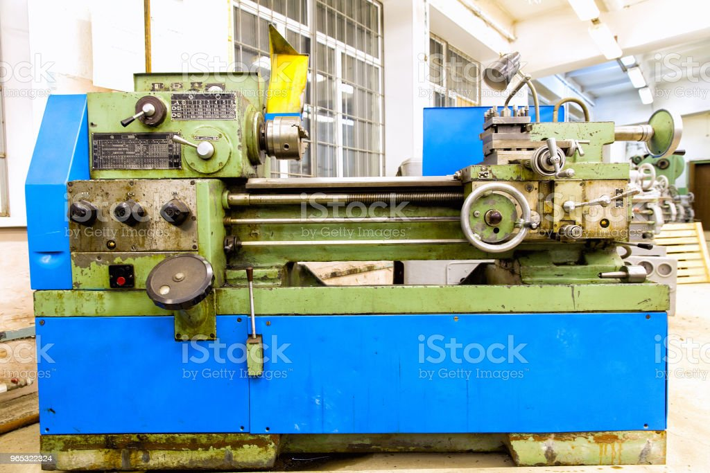 Old lathe in the workshop royalty-free stock photo