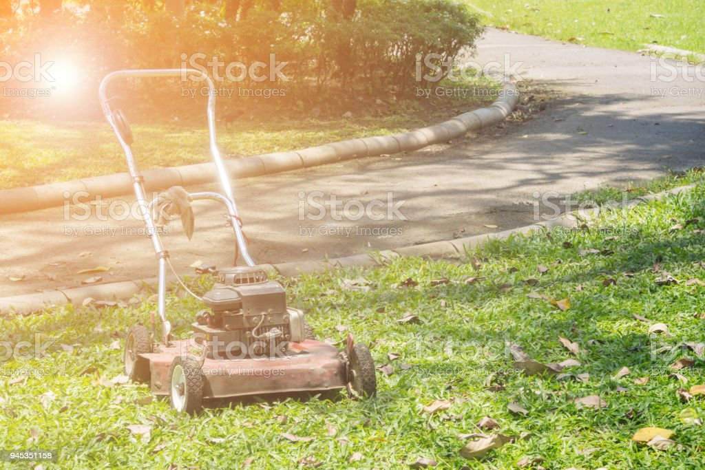 Old lawn mower. stock photo