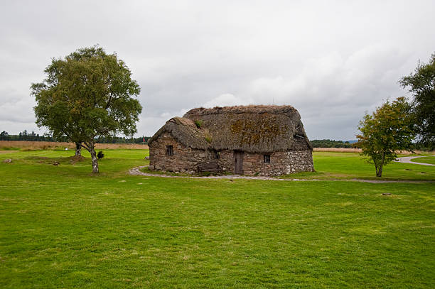 Old Leanach Cottage  culloden stock pictures, royalty-free photos & images